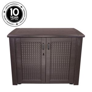 Rubbermaid 123 Gal Patio Chic Basket Weave Patio Cabinet