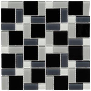 Merola Tile Spectrum Block Black and White 12 in. x 12 in. Mosaic Glass Wall Tile