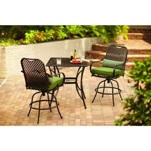 hampton bay fall river 3 piece patio high dining set with moss cushion
