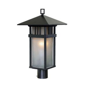 Acclaim Lighting Bali Collection Post-Mount 1-Light Outdoor Matte Black Light Fixture
