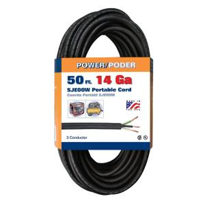 Coleman Cable 50 ft. 14/3 18 Amp Black CU SJEOOW Cord by