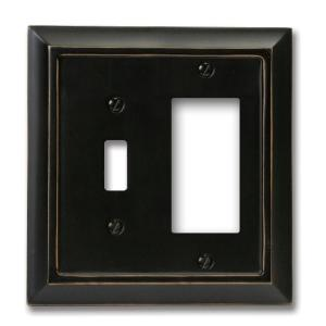 Amerelle Distressed 1 Toggle and 1 Decora Wall Plate - Black