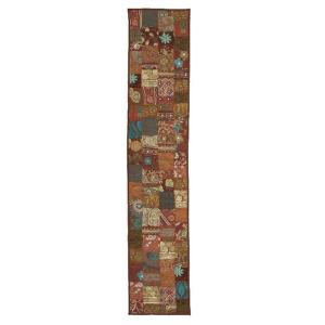 LR Resources 16 inch H x 80 inch W Cotton and Poly Recycled Sari Maroon Patchwork Table Runner by LR Resources