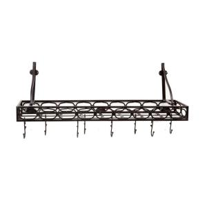 Old Dutch 36 inch x 9 inch x 11.75 inch Matte Black Medium Gauge Wall-Mount Bookshelf Pot Rack with 8 Hooks by