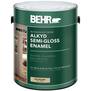 Behr 1 gal medium base semi gloss enamel alkyd interior for What are alkyd paints