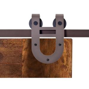 Calhome 72 in antique bronze rustic horseshoe barn style sliding door track and hardware set - Barn door track hardware home depot ...