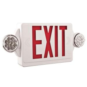 lithonia lighting 2 light plastic led white exit sign emergency combo. Black Bedroom Furniture Sets. Home Design Ideas