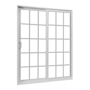 JELD-WEN 72 in. x 80 in. White Left-Hand Sliding Patio Door with Grid