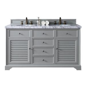 James Martin Signature Vanities Savannah 60 inch W Double Vanity in Urban Gray with Marble Vanity Top in Carrara White... by