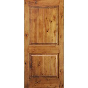 Krosswood Doors 32 In X 80 In Knotty Alder 2 Panel Square Top With V Groove Solid Wood Core