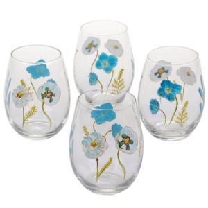 The Greenhouse Handpainted Stemless Wine Glass (Set of 4) by