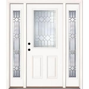 Feather River Doors Mission Pointe Half Lite Prime Smooth Fiberglass Entry Door with Sidelites