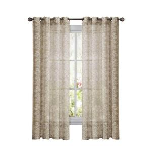 Window Elements Botanica Faux Linen Taupe Semi-Sheer Grommet Extra Wide Curtain Panel, 54... by