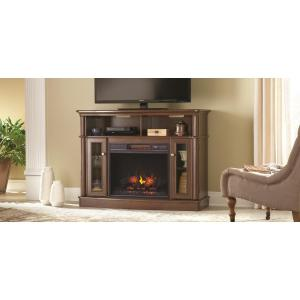 Click here to buy Home Decorators Collection Tolleson 48 inch Media Console Infrared Bow Front Electric Fireplace in Mocha.