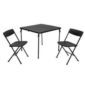 Cosco 3-Piece Black Folding Table and Chair Set by