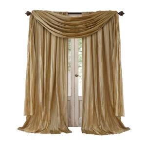Semi-Opaque Gold Rod Pocket 2-Window Curtain Panel - 52 inch W x 95 inch L and 1-Scarf... by