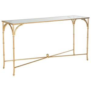 1 safavieh maurice gold tempered glass top console table