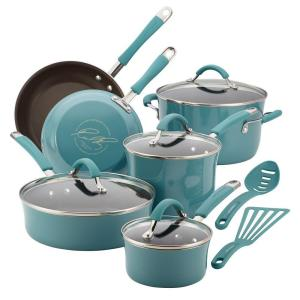 Click here to buy Rachael Ray Cucina 12-Piece Agave Blue Cookware Set with Lids by Rachael Ray.
