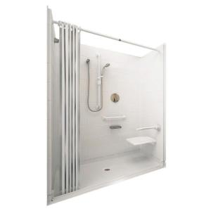 Ella Elite White 37 inch x 60 inch x 77-1/2 inch 5-piece Barrier Free Roll In Shower System in White with Center Drain by