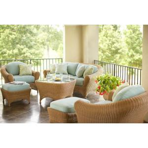 Martha Stewart Living Lily Bay 6-Piece Wicker Patio Seating Set with Sky Cushions-DISCONTINUED