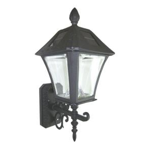 Gama Sonic Baytown 17 in. Wall Mount Outdoor Solar Black Lamp with 6 LED Bulbs
