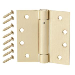 Everbilt 4 in. Satin Brass Adjustable Spring Door Hinge