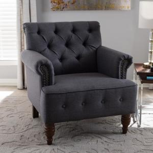 Baxton Studio Christa Transitional Dark Gray Fabric Upholstered Accent Chair by