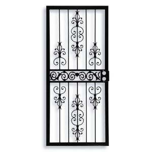 Grisham 409 series spanish lace steel black prehung security door 40921 the home depot - Iron security doors home depot ...