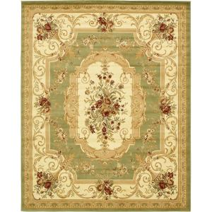 Green 8 X 10 Floral Area Rugs Rugs The Home Depot