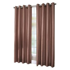 Semi-Opaque Chloe Beige Lined Faux Silk Grommet Curtain Panel, 84 inch Length by