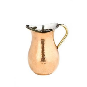Old Dutch 2.25 Qt. Decor Copper Hammered Water Pitcher with Brass Ice Guard and Handle by