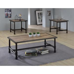 Acme Furniture Caitlin Rustic Oak Built-In Storage Coffee Table by
