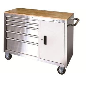 Husky 46 In 5 Drawer And 1 Door Stainless Steel Mobile