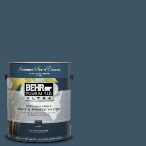 BEHR Premium Plus Ultra 1-Gal. Home Decorators Collection Nocturne Blue Satin Enamel Interior Paint
