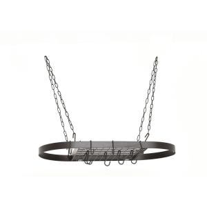 Old Dutch 1.75 inch x 17.25 inch X 33 inch Oval Matte Black Hanging Pot Rack by