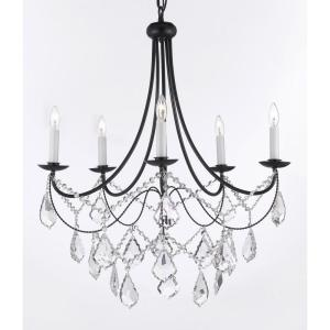 Versailles 5-Light Black Iron Chandelier with Crystal by