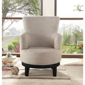 Light Brown Swivel Accent Chair by