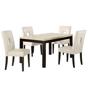 HomeSullivan 5-Piece 60 in. Faux Marble Top Dining Set with White Vinyl Chairs