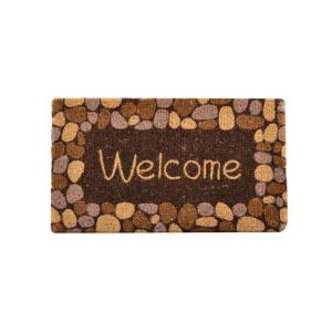 HomeTrax Designs Outdoor Welcome River Rocks 1 ft. 6 inch x 2 ft. 6 inch Coir Door Mat by