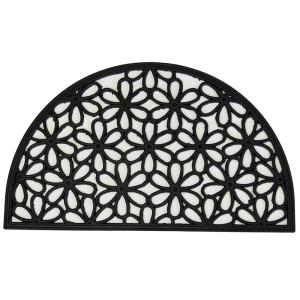 Wrought Iron Collection Black Half Round Daisy 18 inch x 30 inch Rubber Outdoor/Indoor... by