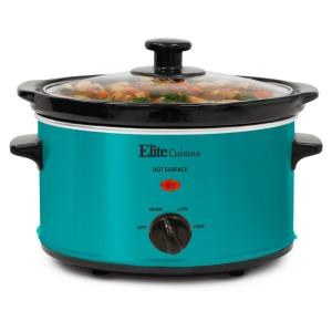 2 Qt. Turquoise Color Oval Slow Cooker by