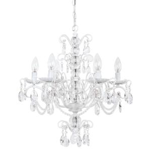 Yosemite Home Decor Ribbon Creek 6-Light White Hanging Chandelier by