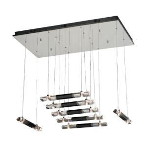 PLC Lighting 14 Light Pendant Polished Chrome Finish Black and Clear Glass-DISCONTINUED
