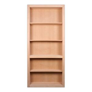 Invisidoor 35 in x 79 in unfinished solid cherry 4 shelf bookcase wood interior door idbc36ch for Solid wood interior doors home depot