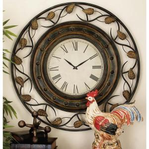 36 inch Riveting Leaf Round Wall Clock by