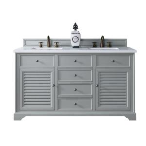 James Martin Signature Vanities Savannah 60 inch W Double Vanity in Urban Gray with Quartz Vanity Top in White with... by