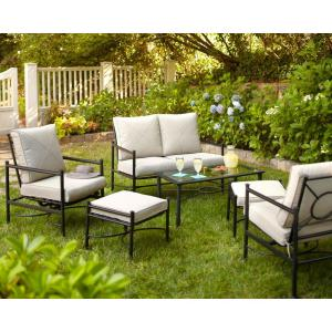 Hampton Bay Barnsley 4-Piece Patio Deep Seating Set with Textured Silver Pebble Cushions