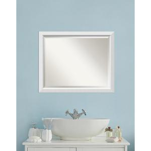Amanti Art Blanco White Wood 31 inch W x 25 inch H Contemporary Bathroom Vanity Mirror by