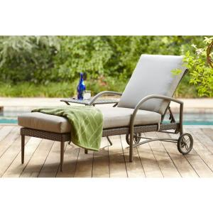 Hampton bay posada patio chaise lounge with gray cushion for Chaise cushions on sale