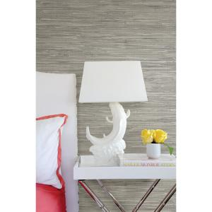Click here to buy Brewster Natalie Grey Faux Grasscloth Wallpaper.